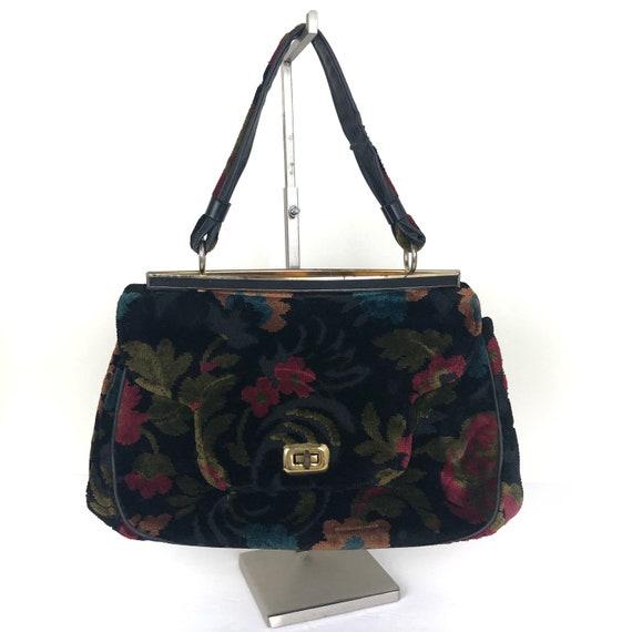 Vintage Garay Carpet Bag, Velvet Tapestry Handbag,