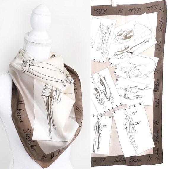 Vintage Halston Silk Scarf, Halston Sketches '97,