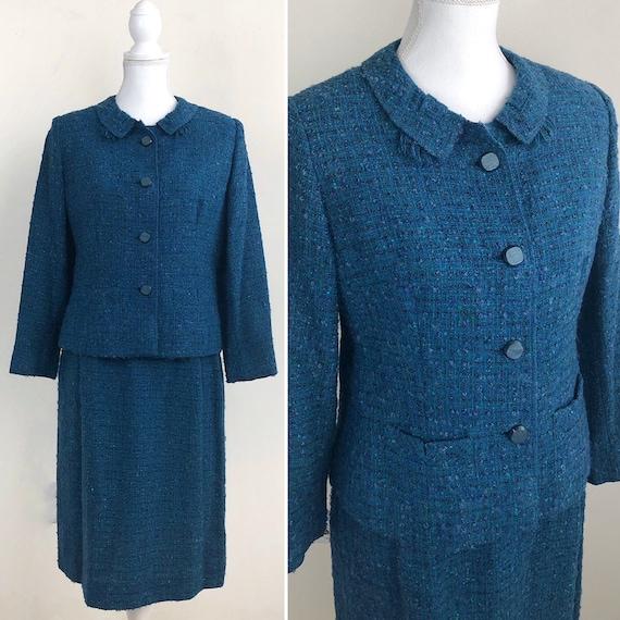 Vintage Tweed Skirt Suit, Blue Tweed Suit, Blazer