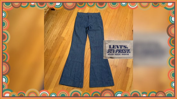 Vintage 60s Big E ~ LEVI'S Jeans. Cuffed Bell Bott
