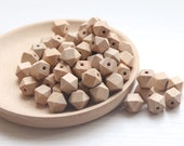 5 - 100 12mm Faceted Beech Wood Eco Natural Beads Hexagon Smooth Raw Wood Beads, Raw Wood Hexagon Beads