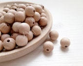5 - 100 12mm Round Beech Wood Bead, Raw Wood Pearls Round, 100 Natural Without Varnish, Unlaced 12 mm Premium Wooden Ball