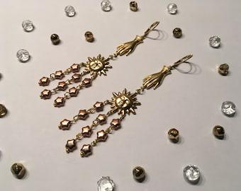 Stunning GUIDING LIGHT earrings, dangle earrings, sun earrings, hand earrings, statement earrings