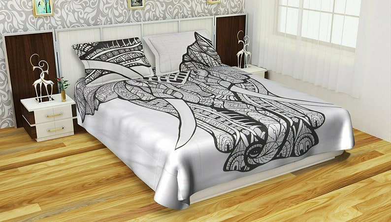 Elephant Mandala Comforter Cover Bedding Throw Indian Handmade Duvet Cover