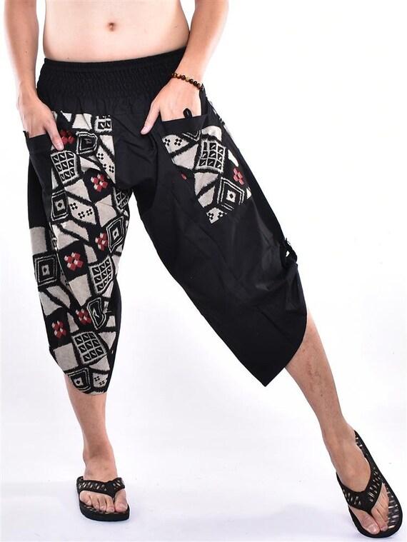 Free Upgrade Express Shipping SM58 Unique Edition Patchwork Printed Cotton Samurai pants Trousers Wide Legs pants Harem pants Yoga pants