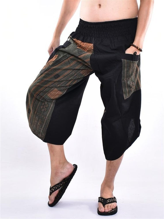 Trousers Free running pants Samurai pants Printed with Naka Hand Woven Harem pants Parkour pants Yoga pants Free Style pants