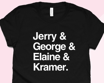 0e16d5d72 Seinfeld T-Shirt - Jerry Elaine George Kramer - Seinfeld Cast TV Show Shirt  - Comedy Sitcom - List Shirt - 90's TV Show