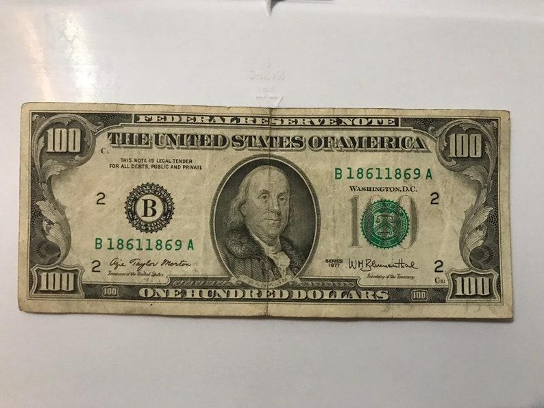 100 DOLLAR BILL 1977 VINTAGE