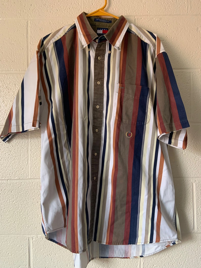 90s Striped Tommy Hilfiger short sleeve button-down