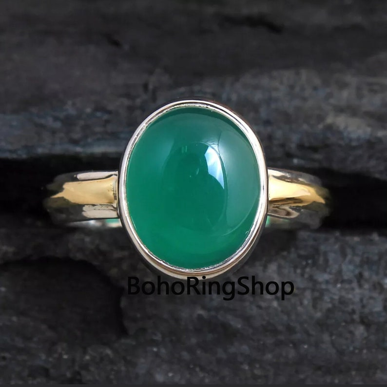 Statement Ring 925 Silver Ring Handmade Ring Gemstone Ring Boho Ring Women Ring Green Onyx Ring Gift For Her Dainty Ring