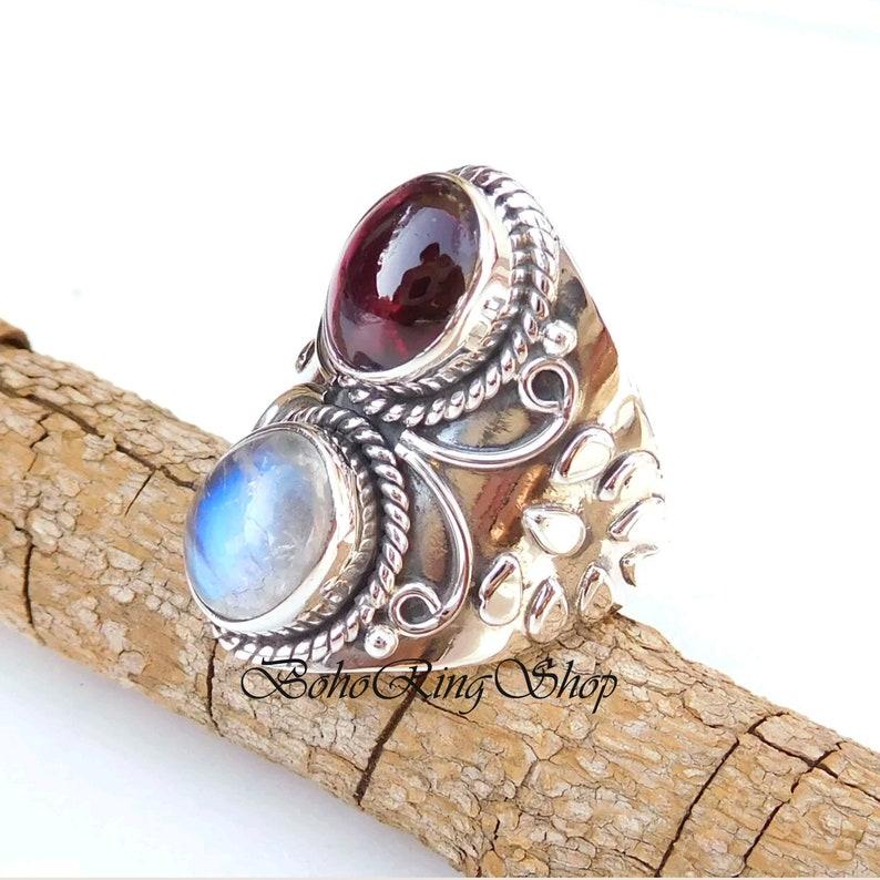 Moonstone Ring Women Ring 925 Silver Ring Designer Ring Garnet Ring Gemstone Ring Gift For Her Handmade Ring Statement Ring