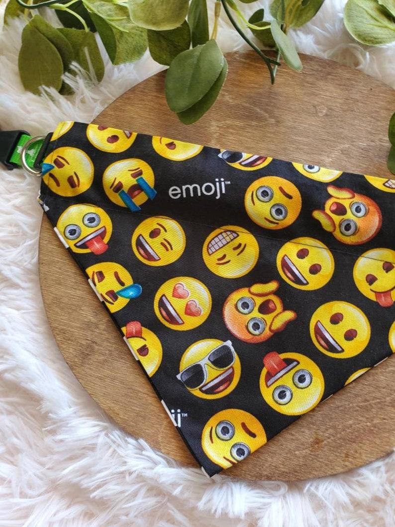 Emoji dog bandana reversible Cute pet bandanas Gift ideas fashion pet emoji pet wear handmade slide through the collar emoji designs