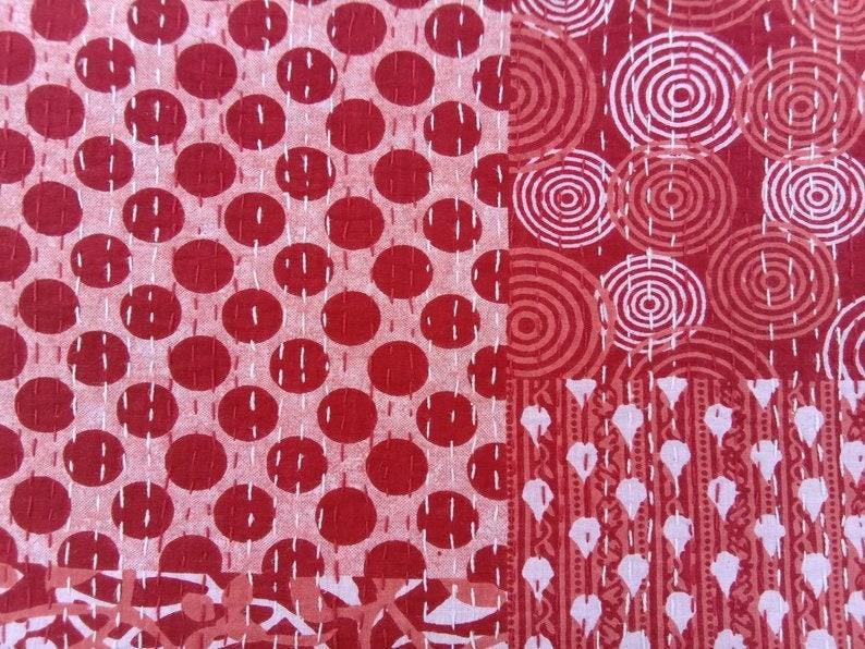 Blue /& White Handmade Hand Block Printed Cotton Bedding Home Decor Royal Indigo Kantha Quilt Queen Size Throw Blanket Bedspread