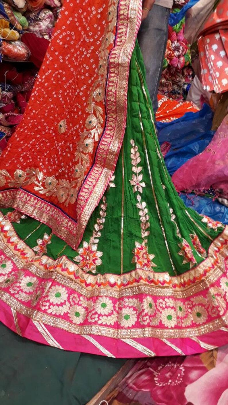 Indian Bollywood Crepe Lehenga with Charkhi Gota Work and Heavy Gota Border with Silk Bandhej Dupatta