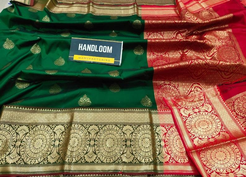 Indian Exclusive Banarasi Semi Katan Silk Saree Wedding Partywear Sari with bpExpress Delivery