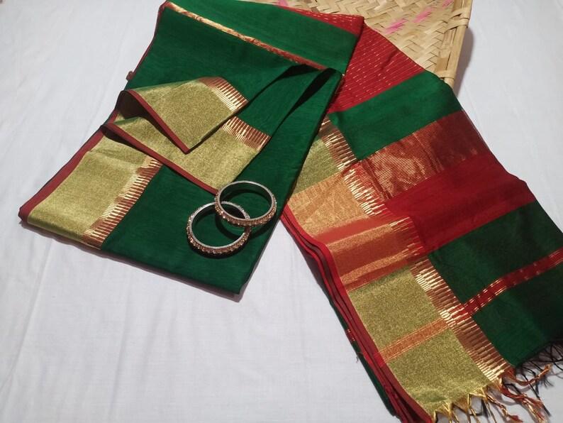 Indian Traditional Maheshwari Handloom Pure Cotton Silk Zari Border Exclusive Saree Wedding Partywear SariExpress Delivery