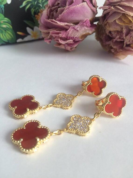 18K Yellow Gold Pink Enamel Polka Dot Flower Dangle Earrings