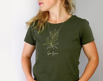 Classy ladies t-shirt with motif in gold glitter print    Giftidea   olive   100% organic cotton