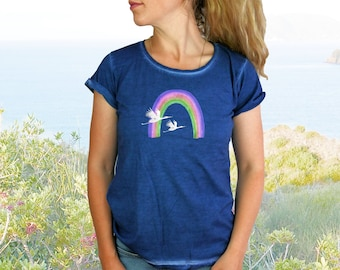 Rainbow T-shirt for women with birds / cranes   blue clash   100 % cotton   Summer gift for them