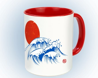"""Cup of """"Japanese sun"""" tea and coffee cup, nice for autumn in the home office and as a gift (waves)"""