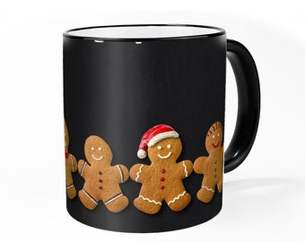Christmas Cup - Gingerbread : inside - Coffee cup with gingerbread figures, for mulled wine, tea in Advent and at Christmas