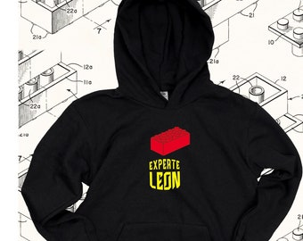 """Children's Hoodie """"Lego Brick Expert"""" black   Birthday gift, Christmas for boys + girls   Personalize by name"""