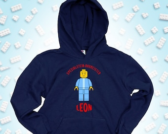 """Christmas children's hoodie with name customizable, """"BausteinMeister"""", gift for birthday, Advent or Christmas"""
