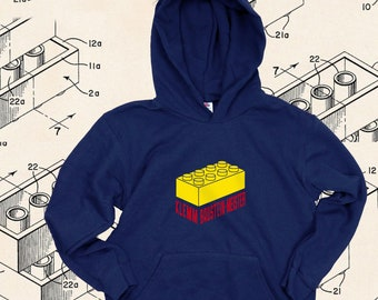 """Children's Hoodie """" Clamping block· Master"""" dark blue   Birthday gift, Christmas for boys + girls   can be personalized by name"""