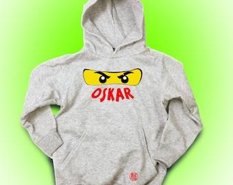 Christmas, Personalize Ninjago Hoodie with Name, Birthday Gift Idea for Boys, Christmas Gift, Grey Mottled
