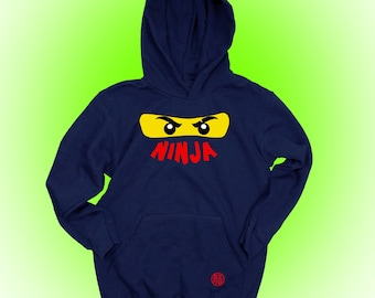 Christmas, Personalize Ninjago Hoodie with Name, Birthday Gift Idea for Boys, Christmas Gift, Blue