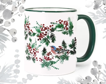 """Cup """"Birds & Berries"""", coffee cup with autumn decoration, gift for birthdays in autumn"""