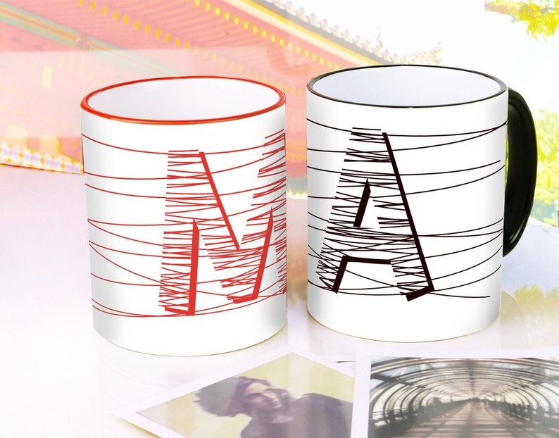 Cups with individual letters / 2 colors / letter coffee cup image 0