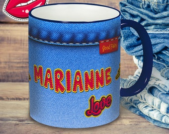 """Mug """"Jeans"""", personalize cup with name, gift with name, personalized cup with desired text, all-round print"""