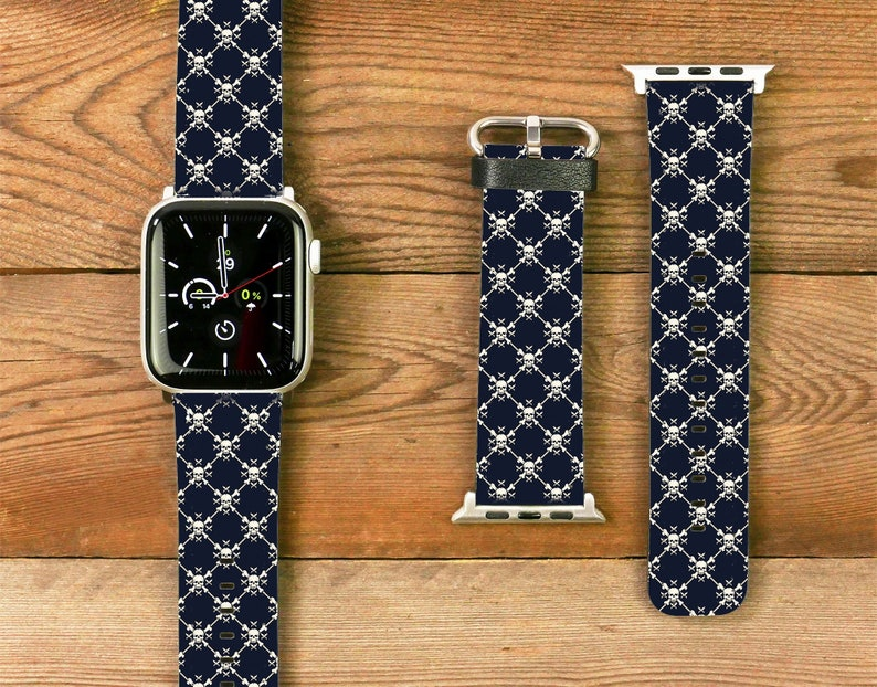 Leather watch strap with motif print for Apple Watch 38 / 40mm image 0
