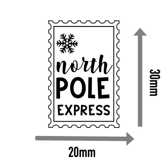 35x North Pole Express Stamp Gift Tags Present 30x20mm Custom Xmas Sticker 343