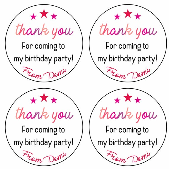 Thank You Birthday Party Gift 30mm Personalised 35x Custom Favour Sticker 128