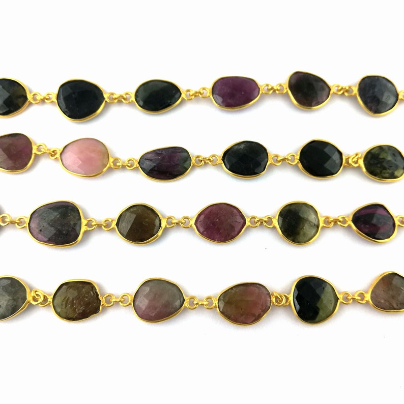 Selling By Foot Making For Jewelry Tourmaline Connector Necklace Natural Tourmaline Faceted Gemstone Bezel Chain Chain Bracelet