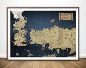Game of Thrones Map Wall Art, Game of Thrones Art, Game of Thrones Gift, GOT Khaleesi Mother of Dragons, Daenerys Targaryen House Stark