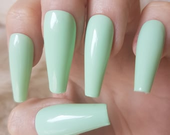 Mint Green Coffin Nails - Nail and Manicure Trends