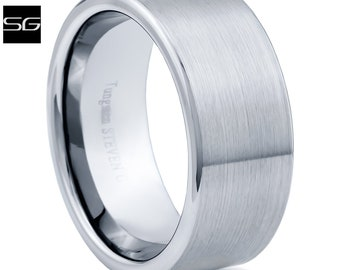 New Mens 9mm Tungsten Carbide Comfort Fit Wedding Band With Satin Finish