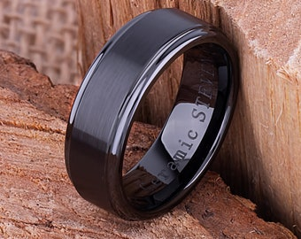 CER055 8mm Black Ceramic Ring Style Wedding Engagement Band 8mm Wide Trapezoid Shape Center /& Triangle Side Polished Finish  Comfort Fit