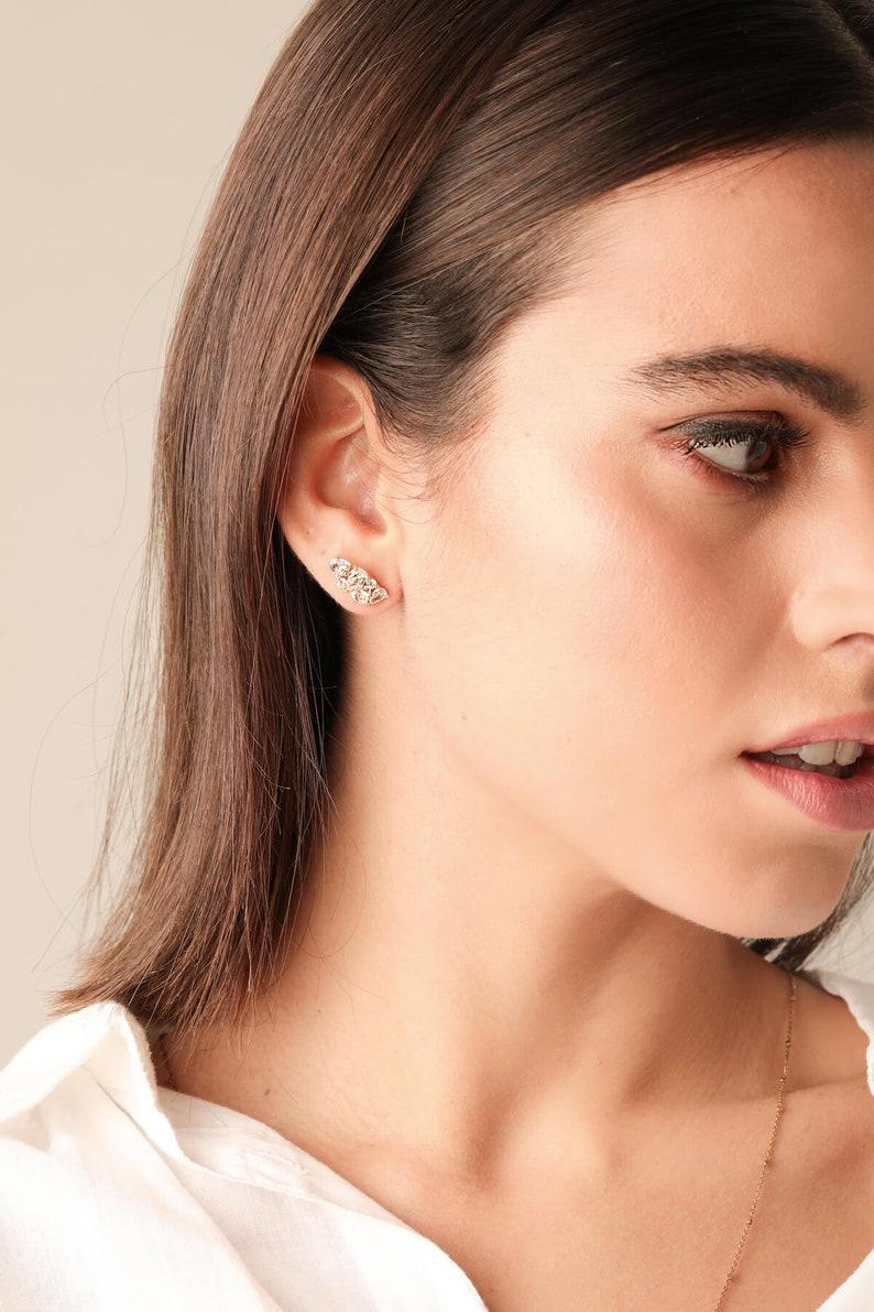 Silver earrings elegant earrings Ear stud earrings for women jewelry gift zircon earrings cz crystal earrings