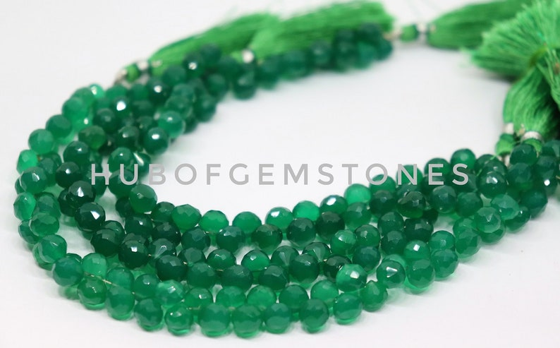 Natural Green Onyx Faceted Onion beads,green onyx Onion,AAA quality green onyx Onion,green onyx Onion shape Briolettes,7 mm,Approx 8 Inches