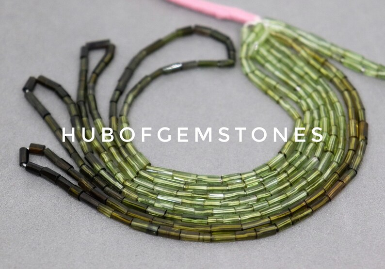 Chrome Green Tourmaline Beads Green Tourmaline Step Cut Beads Green Tourmaline Step Cut Pipe Shape Beads AA Grade Gemstone Beads