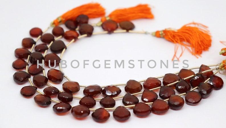 A Grade Gemstone Beads Orange Chalcedony Heart Shaped Beads Deep Orange Chalcedony Faceted Heart Beads Orange Chalcedony Faceted Beads