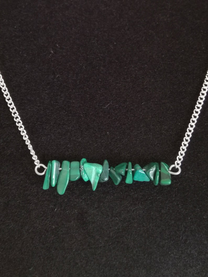 natural stone jewellery gift for woman Green malachite necklace gemstone green jewelry