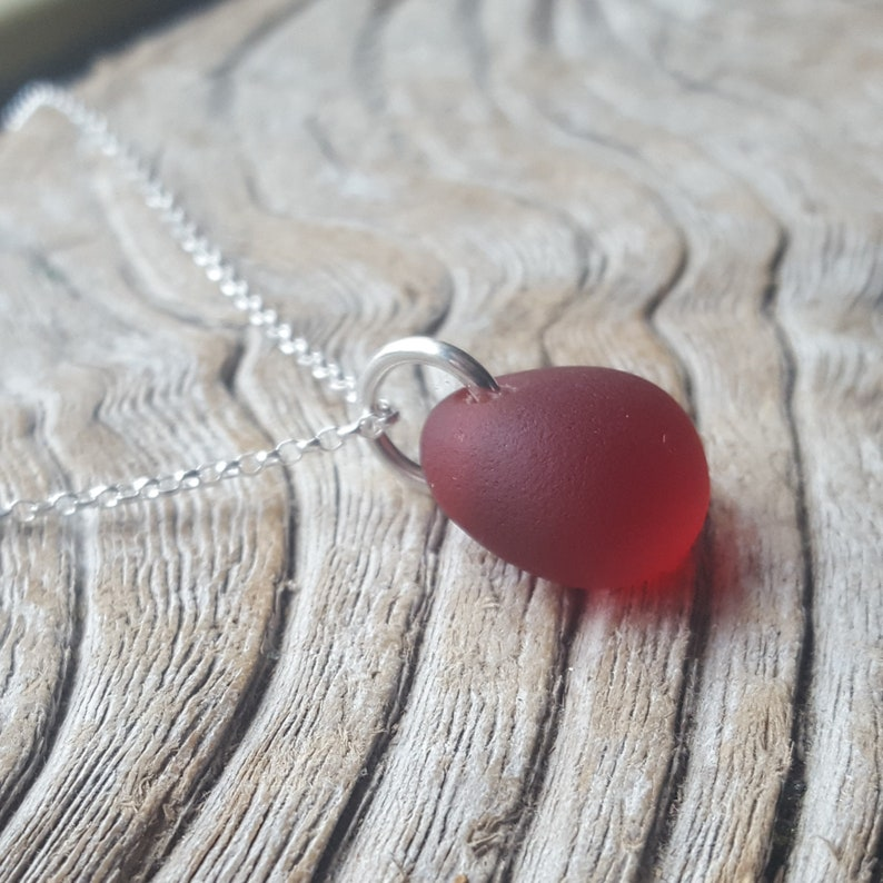 Sterling Silver and Chunky Red Sea Glass Necklace from Imogen/'s Beach