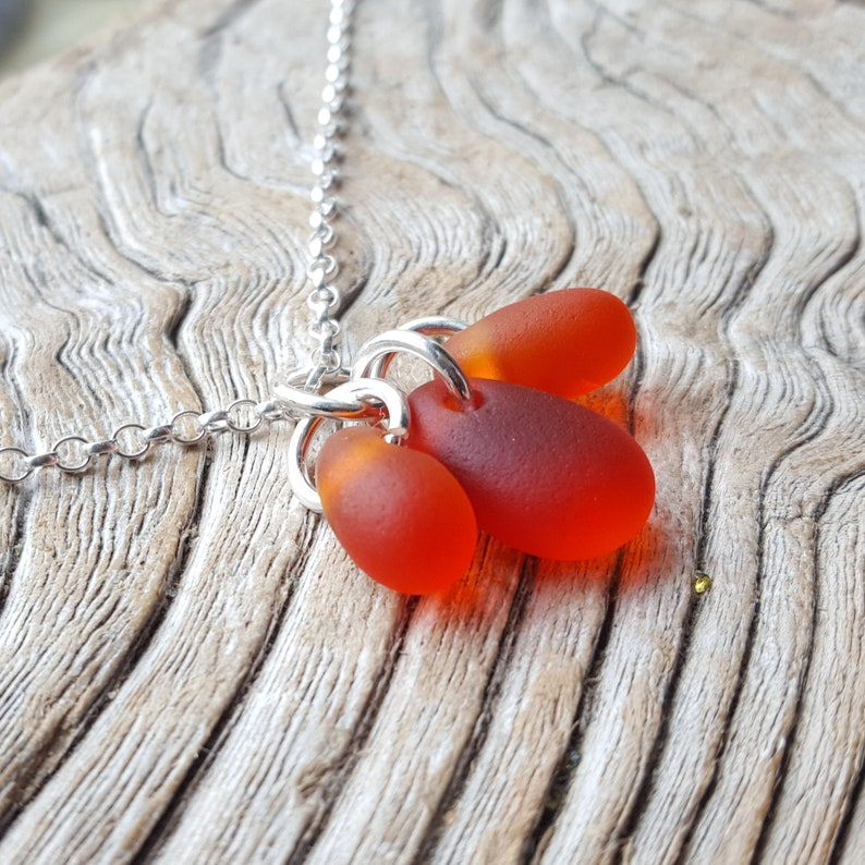 from Imogen/'s Beach Silver Sterling Silver and Hot Orange Sea Glass Cluster Necklace