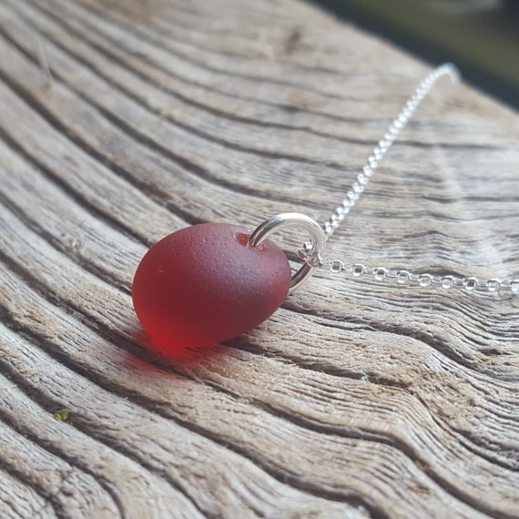 Red sea glass silver pendant Sterling silver beach glass red necklace Christmas gift Sea glass jewelry
