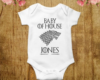 42d5d12e CUSTOM Game of Thrones Baby Bodysuit Personalized Baby Shirt Gift House  Name Game of Thrones Baby Clothes GOT Baby Outfit Baby Clothing